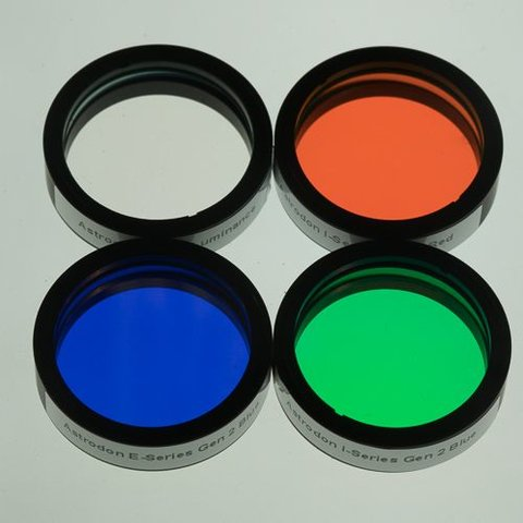 Astrodon I-Series LRGB Filter set mounted 1.25 Inch