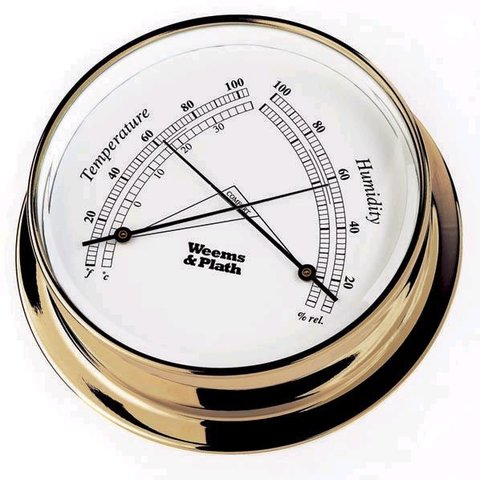 PLATH BRASS THERMOMETER HYGROMETER