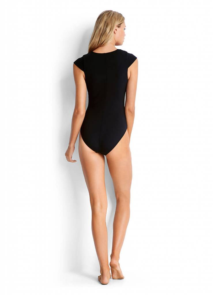 Seafolly Active Lace Up Cap Sleeve Maillot