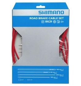 Shimano Kit cables et gaines de freins, Inox enduit de PTFE, Route, Rouge