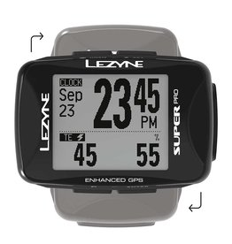 Lezyne Super Pro GPS, Cyclometre, GPS: Oui, Cardio: En option, Cadence: Optionnelle, Noir