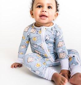 Little Sleepies Little Sleepies Blue Breakfast Bamboo Zip Pajamas