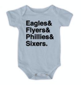 Urban Smalls Eagles/Flyers/Phillies/Sixers Blue Bodysuit