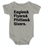Urban Smalls Eagles/Flyers/Phillies/Sixers Gray Bodysuit