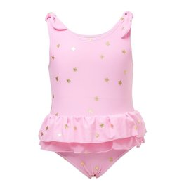 Snapper Rock Pink Gold Star Frill Skirt Swimsuit