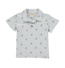 Me & Henry Grey Dog Print Polo Shirt