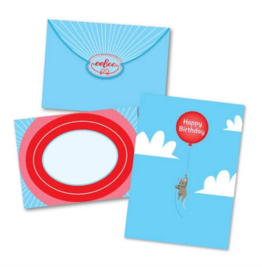 eeBoo Mouse Floating on Balloon Bday Card