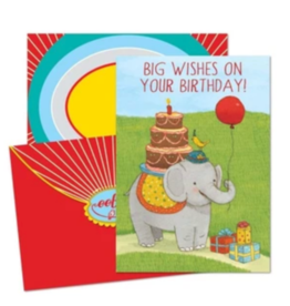 eeBoo Elephant with Cake Birthday Card
