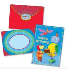 eeBoo Robot and Friends Birthday Card