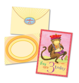 eeBoo Monkey 3 Bday Card