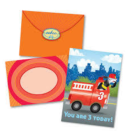 eeBoo Fire Truck 3 Bday Card