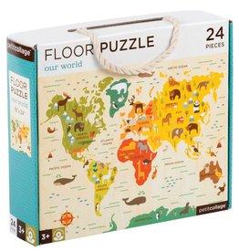 Petit Collage World Map 24-Piece Puzzle