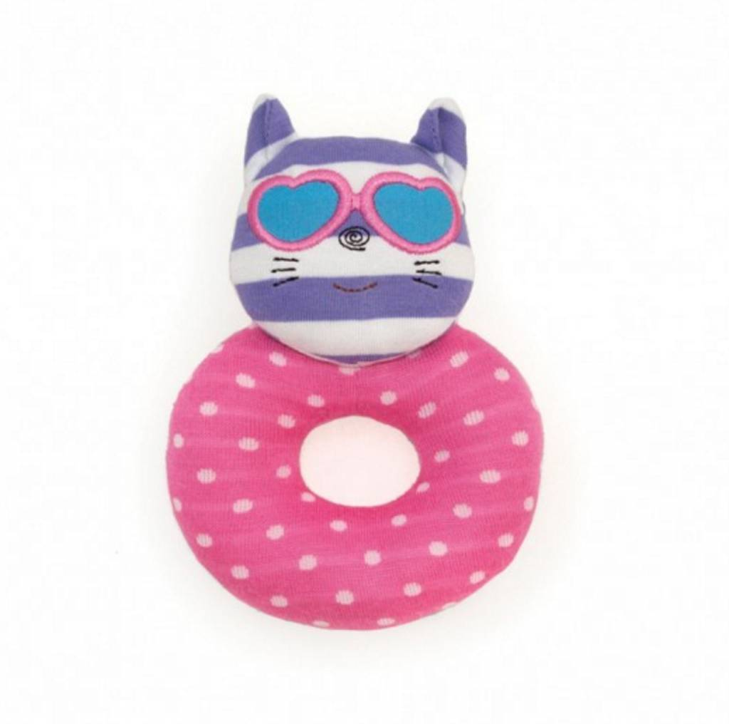 Apple Park Organic Teething Rattle- Catnap Kitty