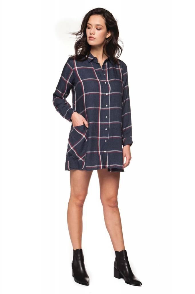 DEX CLOTHING L/S PLAID SHIRT DRESS 1222340