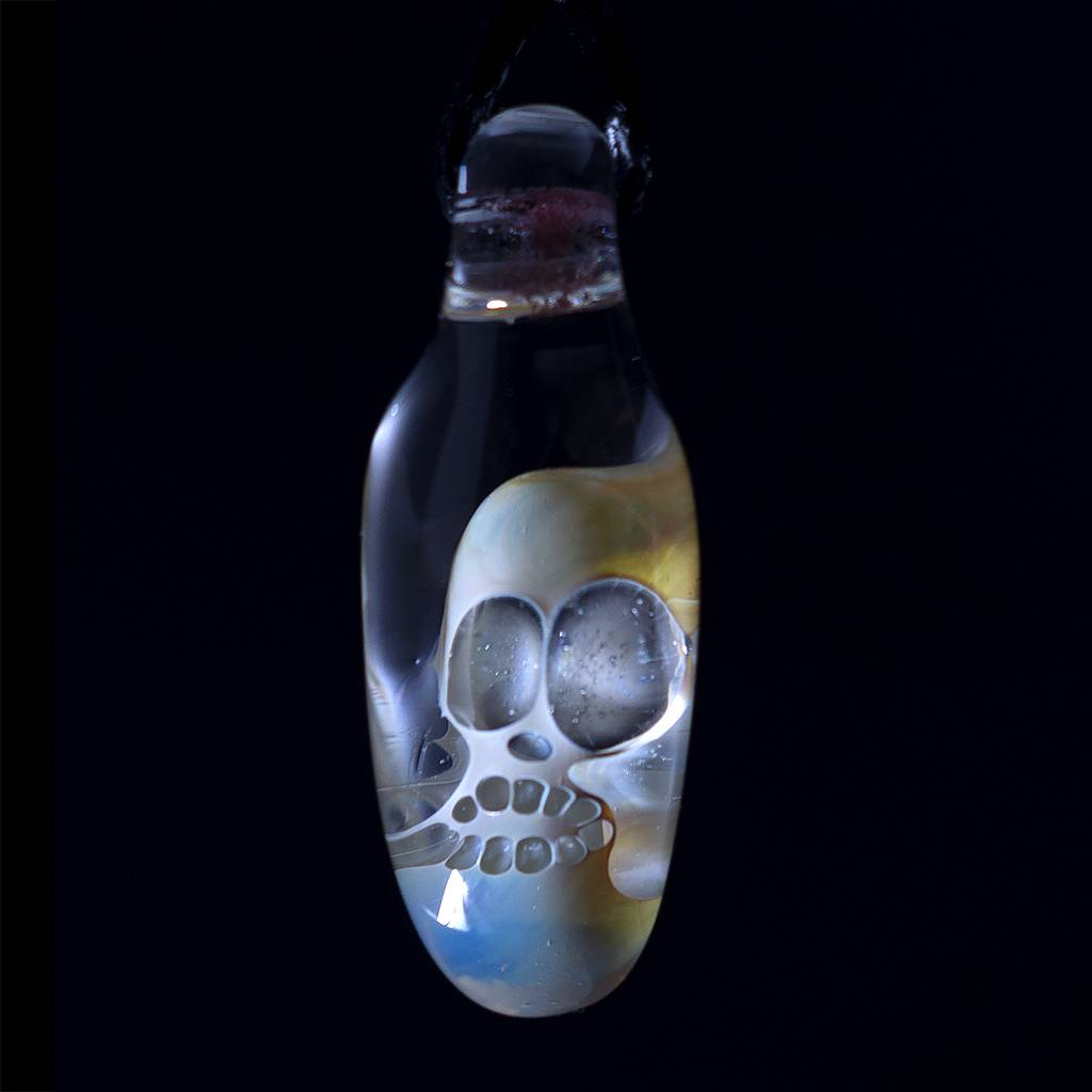 Bob Snodgrass Bob Snodgrass Fume Skull Glass Pendant 5