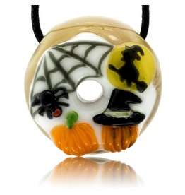 KGB x Sarah Marblesbee SOLD FF Flying Witch, Spiderweb & Pumpkins Donut Pendant KGB x Sarah Marblesbee