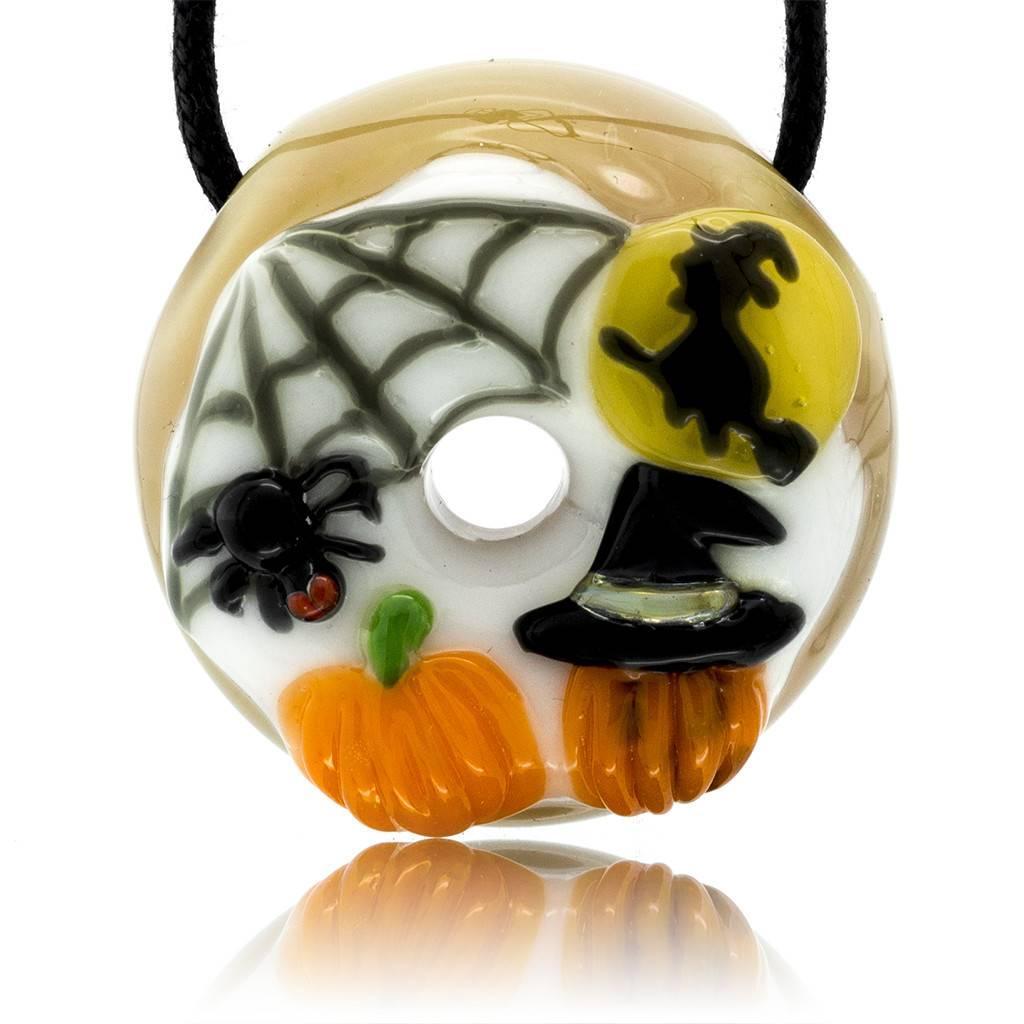 KGB x Sarah Marblesbee FF Flying Witch, Spiderweb & Pumpkins Donut Pendant KGB x Sarah Marblesbee