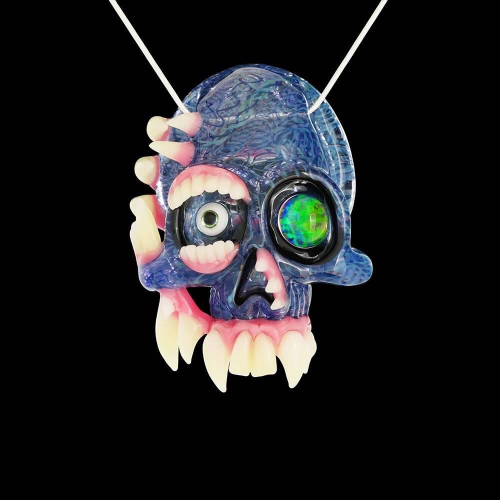 Salt x AKM Dual Sided Calico Creature Skull Pendant Dark Arts