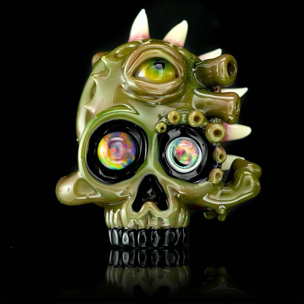 Salt x AKM Spanish Olive Creature Skull Pendant Dark Arts