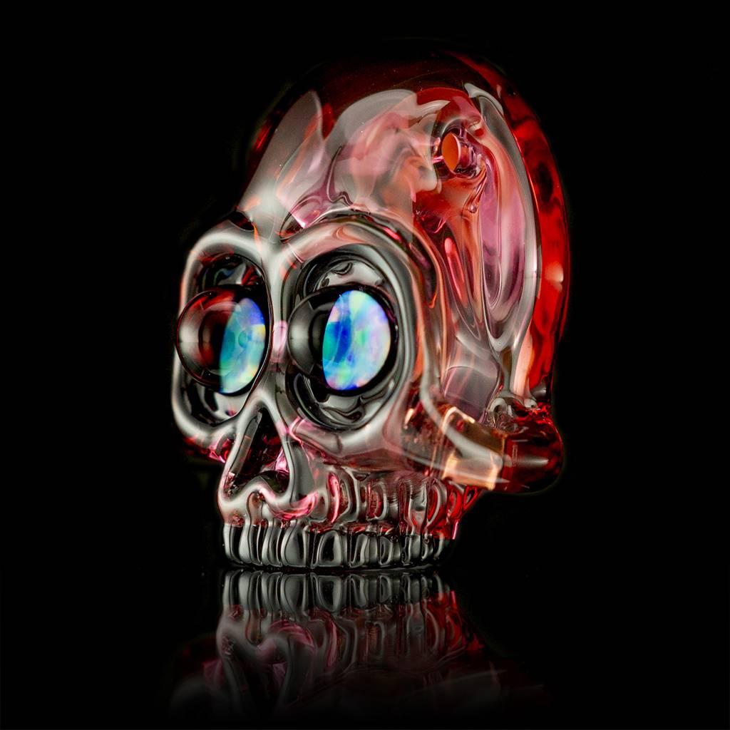 AKM SOLD AKM Split Color Fade Skull Pendant Gold Ruby / Neutral / Pomegranate