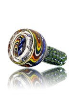 Mystic Family Glass Four Section Cold Cut 14mm Glass Bowl Slide w/ Blue Ribbon Coil by Mystic Family Glass