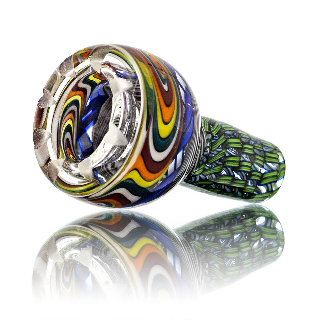 Mystic Family Glass SOLD Four Section Cold Cut 14mm Glass Bowl Slide w/ Blue Ribbon Coil by Mystic Family Glass