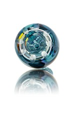 Mystic Family Glass Four Section Blue Cold Cut 14mm Glass Bowl Slide w/ Color Wig Wag by Mystic Family Glass