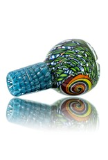 Mystic Family Glass Green Ribbon Coil Cold Cut 14mm Glass Bowl Slide by Mystic Family Glass
