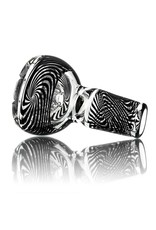 Mystic Family Glass Black Cold Cut 14mm Glass Bowl Slide  by Mystic Family Glass