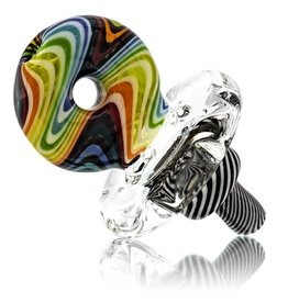 Mystic Family Glass SOLD Directional Carb Cap w/ 33mm Disk Rainbow Lined Cold Cut Donut by Mystic Family Glass