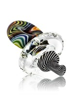 Mystic Family Glass Rainbow Lined Cold Cut Donut Directional Carb Cap by Mystic Family Glass