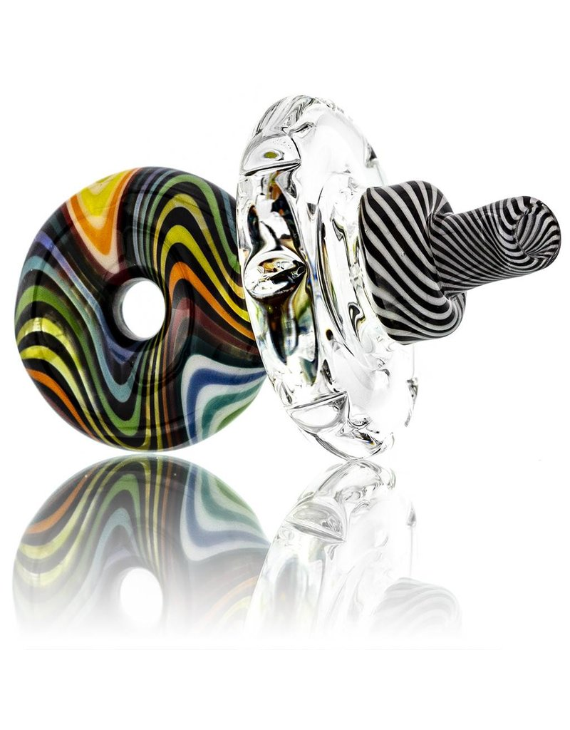 Mystic Family Glass Directional Carb Cap w/ 33mm Disk Rainbow Lined Cold Cut Donut by Mystic Family Glass
