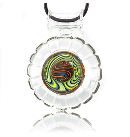 Mystic Family Glass SOLD 3 Section Circle Cold Cut Glass Pendant by Mystic Family Glass
