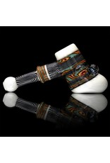 Mystic Family Glass Fully Worked & White Glass Hammer Dry Pipe by Mystic Family Glass