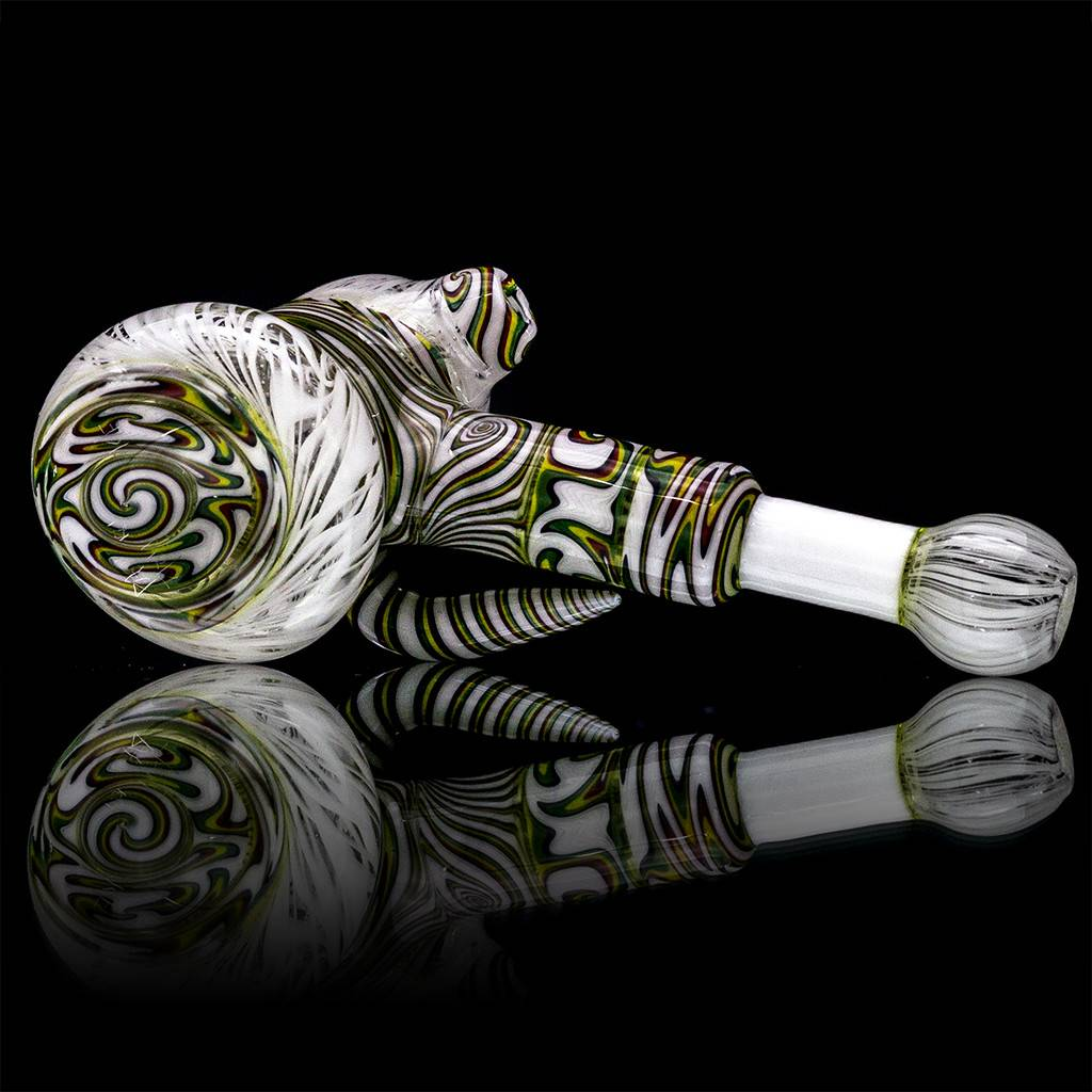 Mystic Family Glass UV Rasta Fully Worked Glass Hammer Dry Pipe by Mystic Family Glass