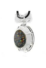 Mystic Family Glass 8 Cut Glass Pendant w/ Rainbow Wig Wag by Mystic Family Glass