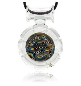 Mystic Family Glass SOLD 8 Cut Glass Pendant w/ Rainbow Wig Wag by Mystic Family Glass