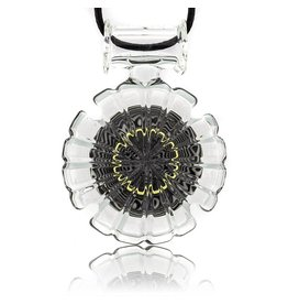 Mystic Family Glass SOLD Black & White Lined w/ UV Cold Cut Glass Pendant by Mystic Family Glass
