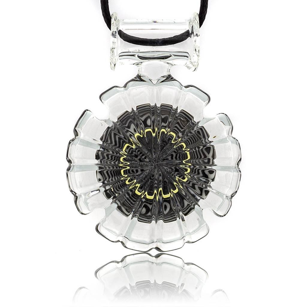 Mystic Family Glass Black & White Lined w/ UV Cold Cut Glass Pendant by Mystic Family Glass