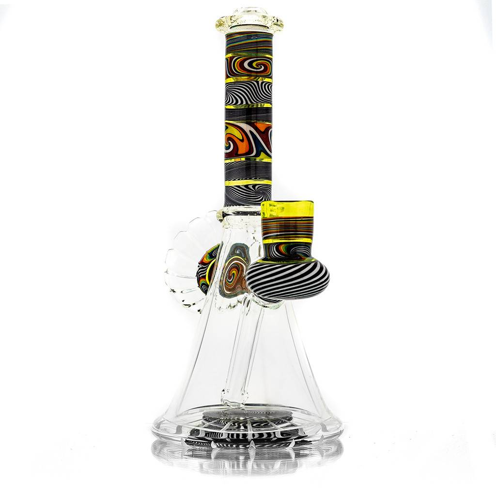 Mystic Family Glass SOLD Fully Worked Cold Cut UV 14mm Banger Hanger by Mystic Family Glass