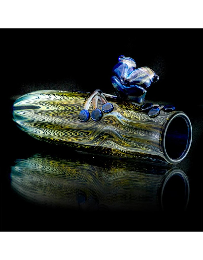Kevin Engelmann Witch DR. Fume Wrap & Rake Glass Chillum Amber Purple Frog One Hitter (D)