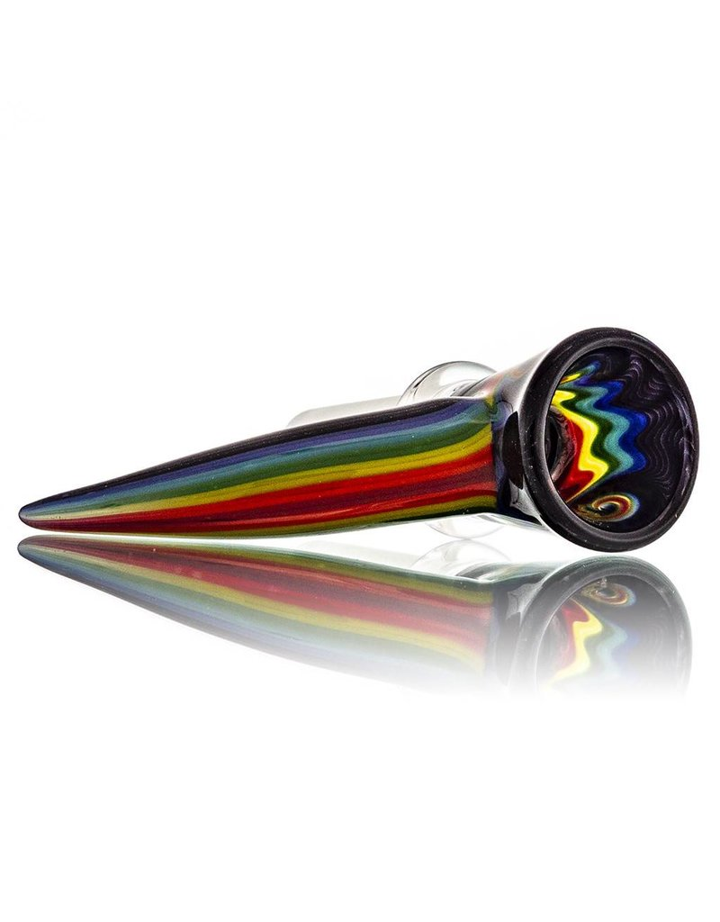 14mm (M) Bong Bowl Slide w/ Worked Horn Handle and 3-Hole Glass Screen by Mike Fro (C)