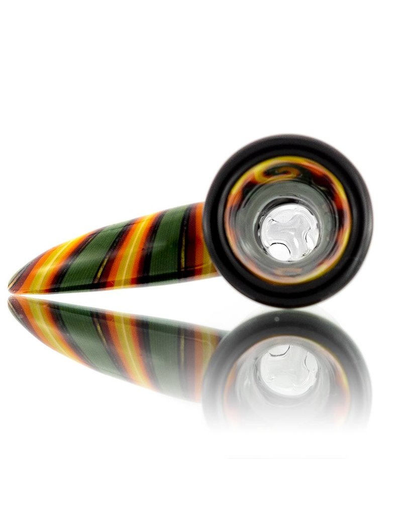 14mm (M) Bong Bowl Slide w/ Worked Horn Handle and 3-Hole Glass Screen by Mike Fro (D)