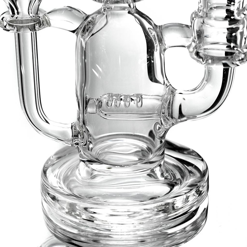 14mm Clear Glass Recycler Dab Rig by Fogz (A)