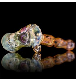 Brad Tenner SOLD Brad Tenner Red Eyes Skull Pipe (B) BT Glass
