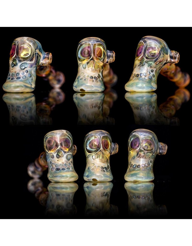Brad Tenner Brad Tenner Glass Red Eyes Skull Pipe (C) BT Glass