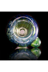 Witch DR 18mm Glass Bong Bowl Slide Gold/Silver Fume over EMERALD GREEN w/ SLYME Dot by Witch DR
