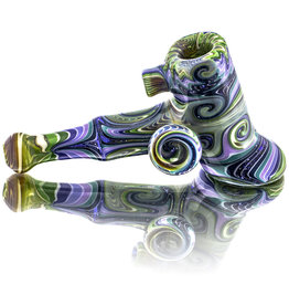 Dan Longden SOLD Glass Pipe by Dan Longden Light Green Hammer Dry Pipe (A)