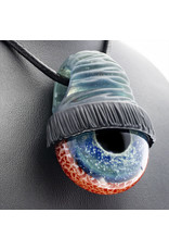 Glass Pendant Blue Startdust Beanie Bloodshot Eye Pendant by Junkie Glass (I)