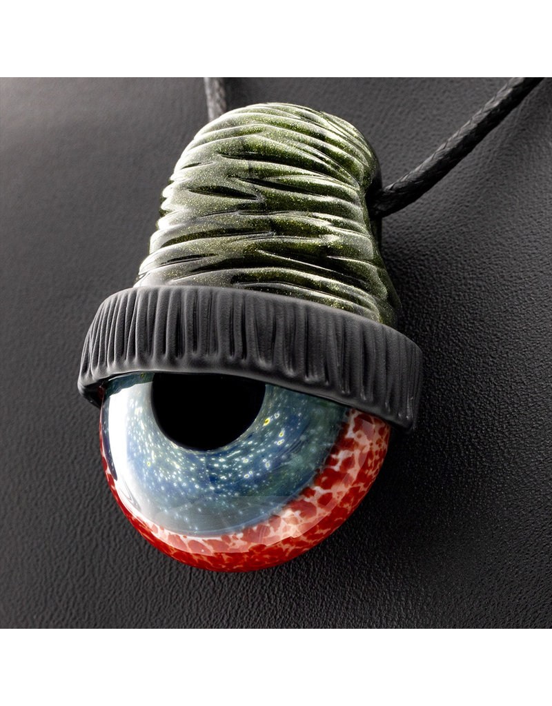 Glass Pendant Millennium Moss Beanie Eye Pendant by Junkie Glass (L)